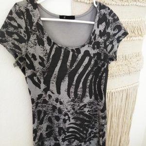Dark and Light Grey Form Fit Dress Medium